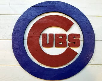 CUBS flag, burnt wood