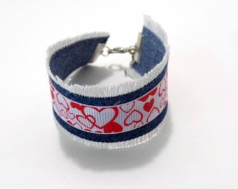 Upcycled Denim Blue Jean and Valentine Heart Cuff, Recycled Jeans, Cuff Bracelet, Heart Charms