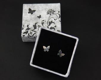 Tiny sterling silver butterfly stud earrings