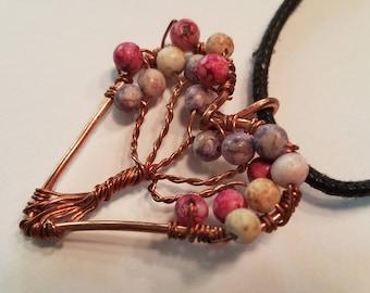 Heart Shaped Tree of Copper Life Pendant