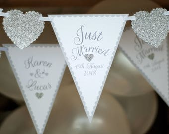 Quality - Personalised Silver Wedding bunting - Personalised Wedding Banner - Silver Wedding Reception  - Silver Glitter Bunting - Garland