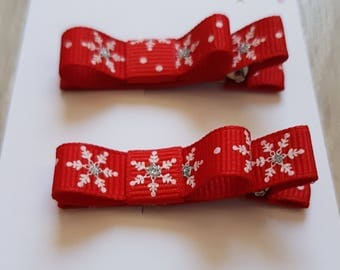 Christmas Set of 2 Hair Clips, 2 Lined Alligator Hair Clips, Girls Hair Clips Set, Colorful Hair Clips, Alligator Clips, Christmas Gift