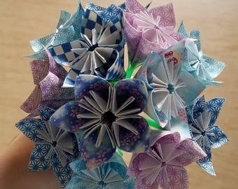 Bouquet origami liberty et strass for Bouquet de fleurs origami