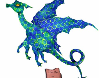 Green and Blue Dragon, Digital Download, fairy dragon, paper dragon, paper doll, art doll, articulated, posable