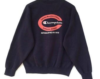 Champion Sweatshirt navy blue colour Big Logo Embroidery Sweat Medium Size Jumper Pullover Jacket Sweater Shirt Vintage 90's