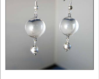 Art Deco Pools of Light Rock Crystal Quartz Drop Earrings