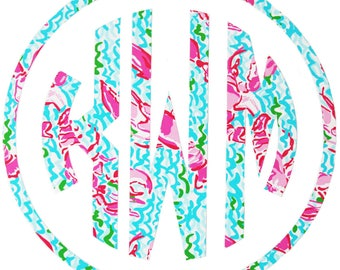 Lilly Pulitzer Inspired Lobsters Car Monogram Decal Sticker