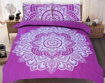 Boho Queen Size Mandala Bedding Duvet Doona Set - Purple Lace Flowers