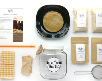 Organic Kombucha Starter Kit - 0.5 Gallon (2 Litre) for 2 Brews. With instructional videos, recipes, forum, and chat assistance