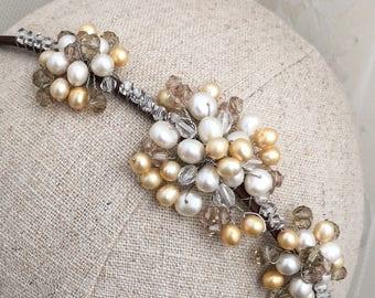 Bridal tiara, bridal hair piece, bridal headpiece, wedding tiara, side tiara, pearl tiara