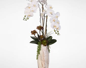 Real Touch Silk Phalaenopsis Orchid with Echeveria Succulent in Marble Ceramic Vase #27B