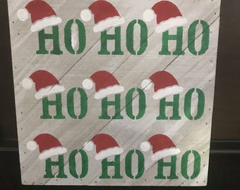 """Hand Painted """"Ho Ho Ho"""" Santa Wooden Sign"""