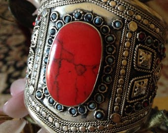 Vintage Red Turquoise & Sterling Silver
