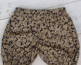 Blue and tan floral baby bloomers
