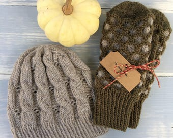 Cabled hat and window mittens