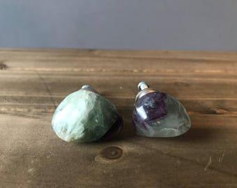 Fluorite drawer/cabinet knobs (pair), rock knob, drawer knob *FREE SHIPPING*