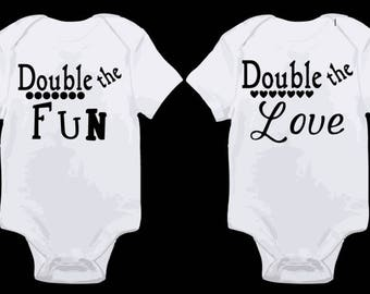 Double The Fun Love Baby Onesies