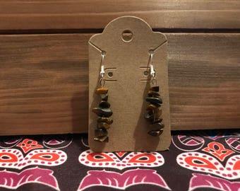 Smoky Quartz Crystal Dangle Earrings