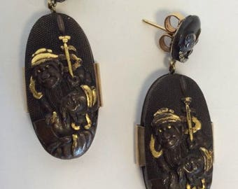 A Pair of Shokudo Panel Earrings Mounted with Warriors and Loop Tops