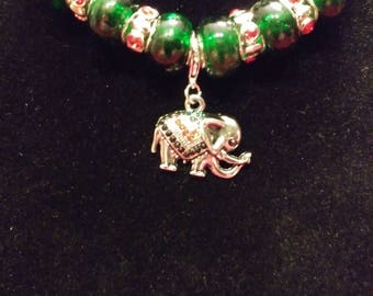 Designer, Beaded Necklace with Jeweled Elephant Pendant