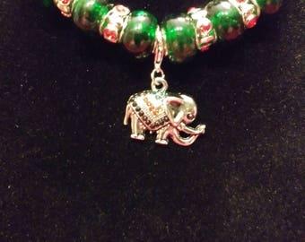 Designer, Beaded Necklace with Jeweled Elephant Pendant