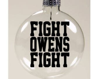 Kevin Owens Fight Owens Fight WWE Wrestling Wrestler Christmas Ornament Glass Disc Holiday Black Friday Squared Circle