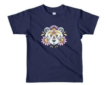 Watercolor bear short sleeve kids t-shirt, floral bear portrait toddler tee, cool unisex shirt, boho design, animal head print, woods theme