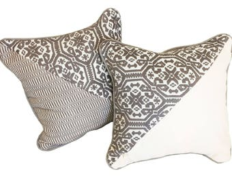 Pair of two pillows-hand embroidered-according to Sardinian tradition
