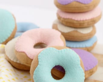 Felt Donuts, Pastel Donuts - Glazed and Filled Donuts - Play with them plain or decorate them with sprinkles!
