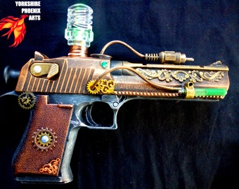 STEAMPUNK gun / nerf type customised Police pistol / display or cosplay / metallic colours / working light