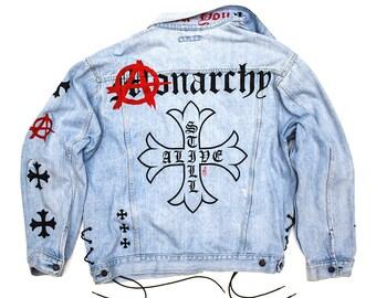 ANARCHY (1 of 1) Vintage denim, Custom jeans jacket, trucker jacket
