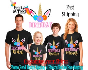UNICORN Birthday Girl Theme Family BLACK Shirts For the Entire Family Mom Dad Brother and More T-shirts Long/ Short sleeve Raglan unicorns