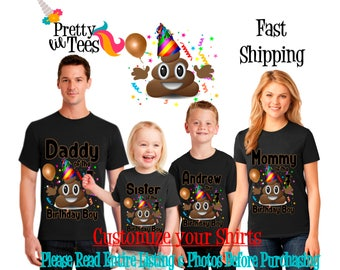 POOP Emoji Birthday BOY Theme Family BLACK Shirts For the Entire Family Mom Dad Brother and More T-shirts Long/ Short sleeve Raglan emojis
