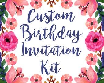 Custom Made to Order Birthday Invitation DIY Digital Design