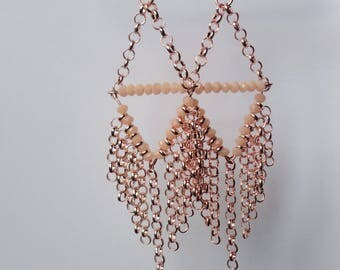 Triangle Earrings with light pink jasseron and facet beads