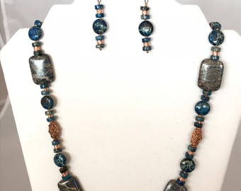 Blue Jasper and Copper Necklace and Earrings