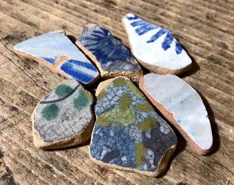 Beach Pottery * Ceramics Projects * Floral Blue Patterns Sea Pottery Shards * DIY Supplies Mix * Italian Pottery Pieces * Decor Inspiration