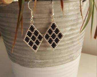 miyuki silver/black diamond earrings