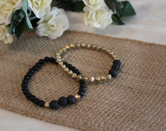 Diffuser Bracelet White/Gold/Black