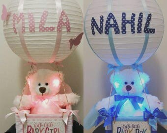 Hot air balloon decorative personalized bear white light