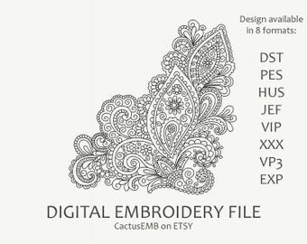 INSTANT DOWNLOAD - Indian mehndi corner pattern. Embroidery design