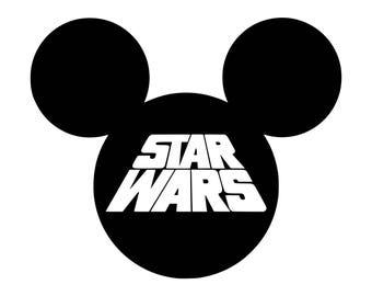 Star Wars Mickey SVG, Star Wars Mickey Cut Files - SVG, Studio, Studio3 - Silhoutte, Cricut and More - BD171