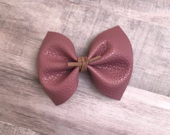 Rosewood mauve faux leather bow, alligator clip, nylon headband