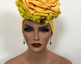 Yellow handmade hat with lacy design
