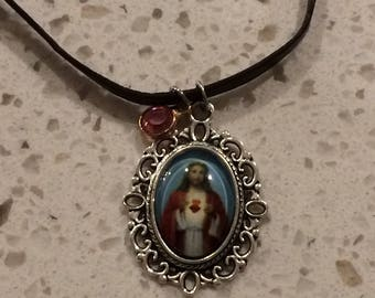 sacred heart of Jesus with leather strap and your choice of birthstone