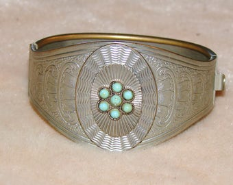 60s/70s Genuine Turquoise Cuff Bracelet with engraving, Excellent condition, clasp works perfectly, vintage cool!