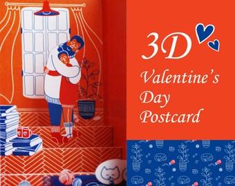 Printable 3d Papercut Postcard, DIY 3d Valentine's Day Postcard, Hugs Postcard Digital File, Printable Love Card, Pop-Up Card
