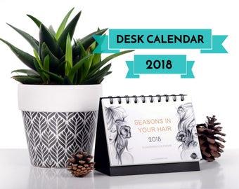 2018 DESK CALENDAR   Illustrated Calendar   Christmas Gift   Stand Calendar   Calendar 2018   Ring Binding Calendar   Watercolor calendar