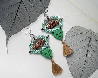 PANTHER Statement Cord Tassel Ethnic Earrings For Holiday Party Special Occasion Stone Copper Bead