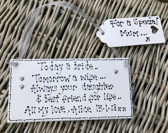 Personalised handmade mother of the bride gift